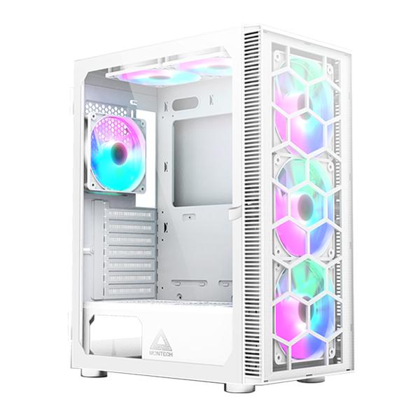 Montech 君主 X3 GLASS ATX 內含6顆RGB 機殼風扇 玻璃透側 白色 機殼