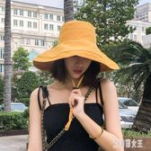 韓版漁夫帽遮陽女夏大帽檐防曬紫外線日系百搭寬檐太陽帽子xy3769【艾菲爾女王】