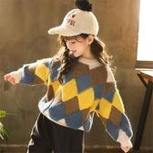 毛衣 韓版童裝女童中大童毛衣圓領套頭格子拼色針織衫保暖【小天使】