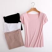 夏莫代爾V領T恤女短袖寬鬆薄款簡約純色體恤百搭大碼內搭打底衫黑