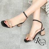 韓系雜誌款拚色交叉線條扣環粗跟高跟涼鞋/3色/35-41碼 (RX0166-H175) iRurus 路絲時尚