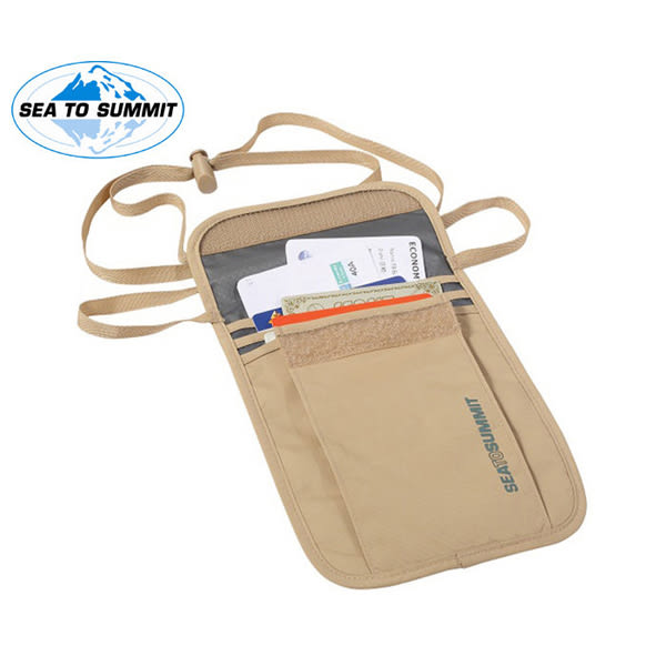 [SEA TO SUMMIT]S.T.S 旅行用頸掛式證件袋(3袋口) 褐/淺灰 (SATLNP3SA) 秀山莊戶外用品旗艦店