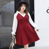 中大尺碼~甜美V領長袖洋裝(XL~4XL)