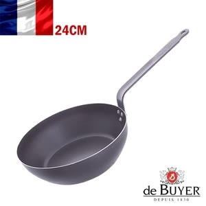 法國【de Buyer】畢耶鍋具『輕礦藍鐵系列』單柄深煎炒鍋24cm