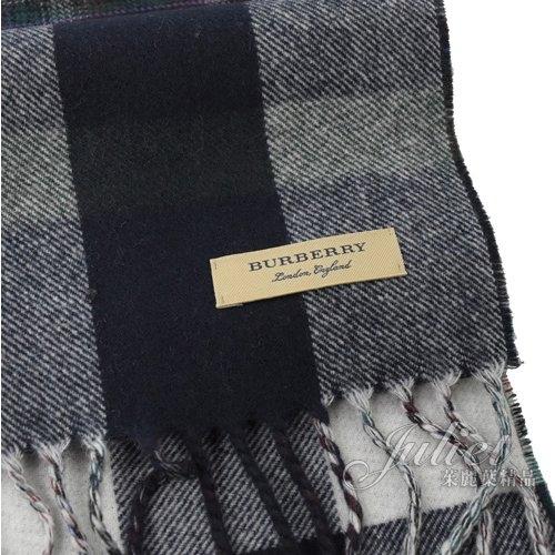 茱麗葉精品【全新現貨】BURBERRY 4060114 英系格紋純羊毛針織流蘇長圍巾.深藍