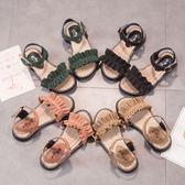女童涼鞋新款韓版百搭夏季公主鞋褶子露趾防滑軟底女孩涼鞋潮 草莓妞妞