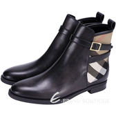 BURBERRY HOUSE 經典格紋拼接踝靴(黑色) 1440272-01