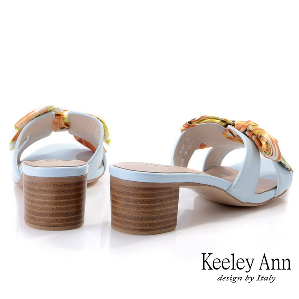 Keeley Ann夏季定番 兩穿式緞帶木質跟拖鞋(藍色) -Ann系列
