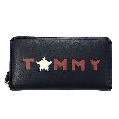 米菲客 TOMMY HILFIGER W86941054 423 文字LOGO設計 時尚素面款 荔枝紋皮革 長夾 皮夾 (深藍)