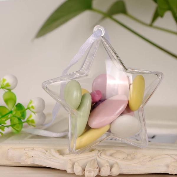 DIY婚禮小物,透明星星壓克力糖果盒,小號8*8*3.6