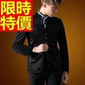 中山裝-創意立領復古燈芯絨男西裝外套65e35【時尚巴黎】