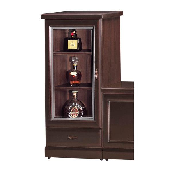 【森可家居】英倫復古胡桃矮單抽展示櫃 7SB215-1 玻璃酒櫃 木紋質感
