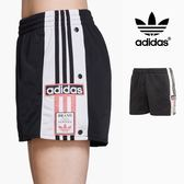 【GT】Adidas Originals 黑 短褲 女款 運動 休閒 復古 排扣 熱褲 愛迪達 三葉草 三條線 Logo DH4673