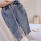 牛仔褲童裝2020新款春裝女童百搭牛仔褲小童韓版洋氣褲子兒童小花長褲 新品
