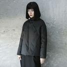 暗黑先鋒中性織帶裝飾短版羽絨服外套/設計家分店