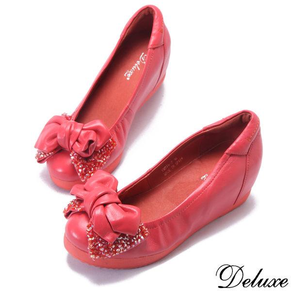 【Deluxe】全真皮閃耀美型蝴蝶結增高包鞋(紅)