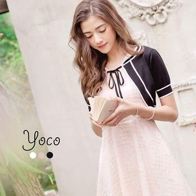 東京著衣【YOCO】貴氣公主撞色線條小外套-S.M.L(170182)