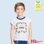 JJLKIDS 男童 夏日鳳梨印花純棉短袖休閒上衣T恤(2色)