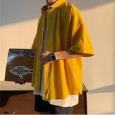 夏季原宿風襯衫男潮流韓版港風百搭短袖休閑半截袖上衣五分袖襯衣 中秋節全館免運