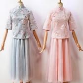 伴娘禮服 伴娘禮服女中式中國風旗袍套裝仙女氣質新款平時可穿秋冬婚禮粉灰 小宅女