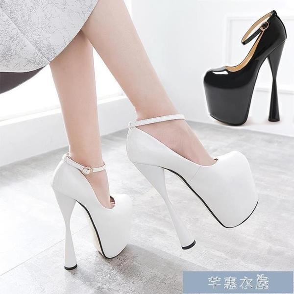 偽娘鞋走秀鞋恨天高粗跟20公分性感高跟鞋特大碼47碼偽娘反串40-43碼 快速出貨
