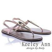 ★2018春夏★Keeley Ann設計美學~三角金屬飾釦全真皮平底T字夾腳涼鞋(粉紅色)