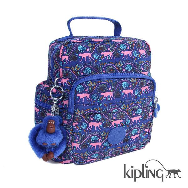 Kipling 粉色猴子叢林印花後背包-小