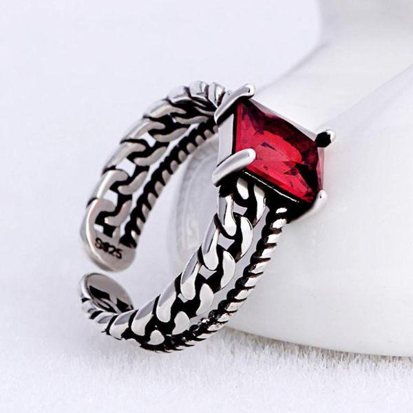 麻花鍊條鋯石復古銀戒指素銀活口指環泰銀開口銀飾 《小師妹》ps549