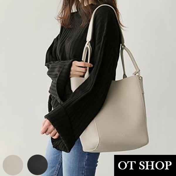[現貨] 側肩背 手提 水桶包 托特包 通勤包 子母包 兩用包 韓系純色質感皮革 黑/米白 H2043 OT SHOP