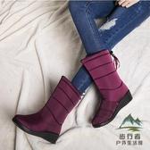 雪地靴冬季加絨防滑中筒靴韓版防水保暖女百搭棉靴子【步行者戶外生活館】