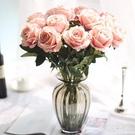 10支絨布玫瑰花仿真植物家居裝飾品擺件 QW6129『夢幻家居』