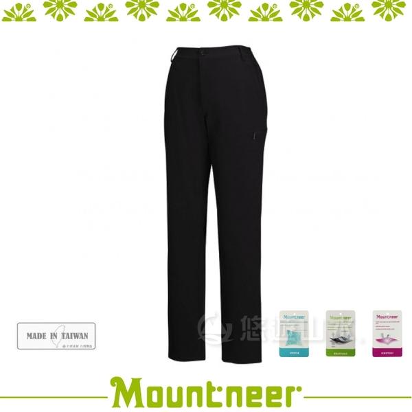 【Mountneer 山林 女 四向彈性保暖窄管褲《黑》】22S02-01/防潑水長褲/雪褲/防風