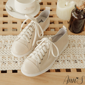 Ann'S第一代休閒舒適全真牛皮超軟綁帶小白鞋-奶茶杏
