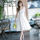 白色雪紡長裙 連身裙 小禮服 蕾絲 洋裝...