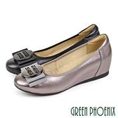 U60-28805 女款全真皮包鞋 OL圓形簍空飾釦深口全真皮內增高包鞋/通勤面試/上班鞋【GREEN PHOENIX】