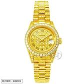 【台南 時代鐘錶 ROSDENTON】勞斯丹頓 榮耀時光 滿天星晶鑽機械錶 97626LGB-A3 女款金 26mm