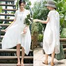 洋裝-鹽縮工藝肌理亞麻兩件套裝裙/設計家
