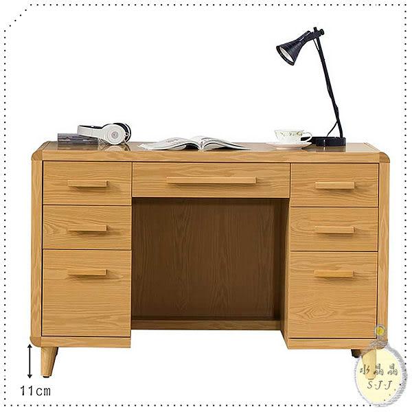 【水晶晶】ZX8630-2洛伊4呎原木色七抽書桌(不含椅)