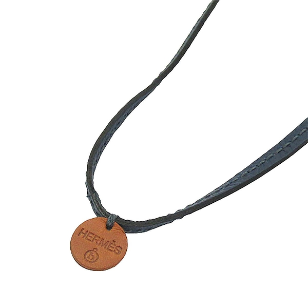 HERMES 愛馬仕 深藍色小牛皮掛繩項鍊 Lanyard necklace PETIE H 【BRAND OFF】