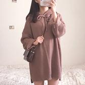 洋裝春女2020新款韓國chic寬鬆百搭連帽中長款毛衣裙寬鬆長袖連身裙 美芭