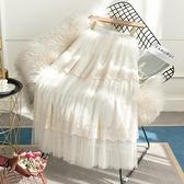 松緊腰半身裙2021春款 蕾絲拼接網紗半身裙DJB07-A1 依品國際