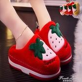 棉拖鞋女2020新款厚底卡通可愛卡通冬季厚底松糕跟外穿可愛棉拖鞋 果果輕時尚