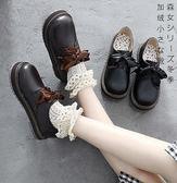 系絲帶綁帶復古娃娃鞋 可愛少女簡約英倫日系厚底鬆糕桃心軟妹學院風淺口圓頭單鞋