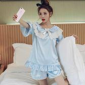 睡衣女夏冰絲套裝短袖兩件套裝真絲學生甜美花邊蕾絲家居服可外穿