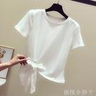 蝴蝶結短款t恤女短袖2021年夏季新款韓版百搭不規則洋氣上衣ins潮 蘿莉新品