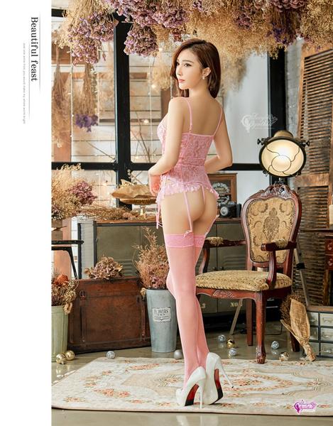 情趣 角色服 睡衣 內衣 ★情趣睡衣 粉紅蕾絲馬甲四件組★┌NA08030127-2