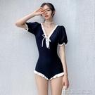 短袖韓版2021保守新款泳衣女連體仙女度假溫泉遮肚顯瘦大碼泳裝