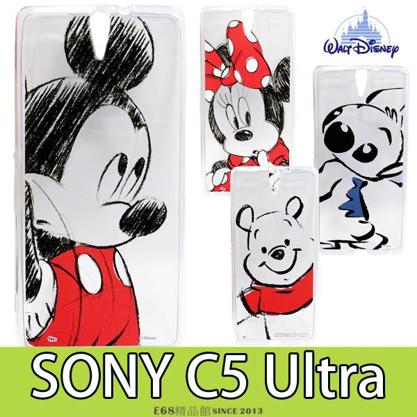 [專區兩件七折] SONY C5 Ultra 迪士尼 透明 手機殼 手機套 採繪素描 米妮史迪奇維尼 卡通 保護殼