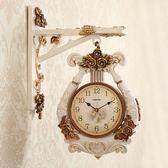 掛鐘 歐式雙面掛鐘客廳創意靜音兩面鐘錶現代復古美式時尚家用時鐘豎琴 LP