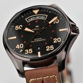 Hamilton 漢米爾頓 Khaki Pilot 卡其飛行員機械錶-黑x咖啡色/42mm H64605531